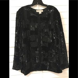 Black Sequin Holiday Formal Top